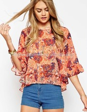2014 Floral personalizado imprimirarriba calidad de impresión Digital tela de gasa de seda blusa