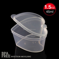 heart shape 1.5 oz Seasoning box, Disposable clamshell Sauce container, 2015 new design Pepper Box