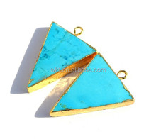 24Kt Gold Electroplated Edge Howlite Turquoise Triangle Pendant, Gold Layered Single Bail Pendant WT-P229