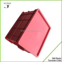Lid attached plastic collapsible storage crate