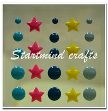 custom epoxy sticker,round enamel dot sticker, yellow star shape enamel dot sticker