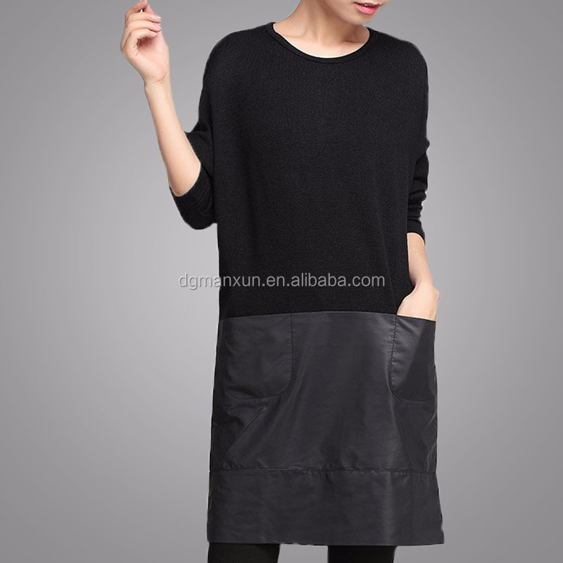 Handmade Customized High Quality Fashion Women Black Block Clothing Long Sleeve Round Neck Apparel Loose Elegant Garment (4).jpg