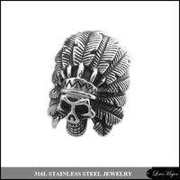 Indians design skull casting stainless steel ring jewelry