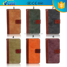 Vintage Retro matte stitching Flip stand Leather With Credit Card Holder wallet case For iPhone 6 4.7 Plus 5.5