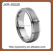 Classic men's tungsten carbide wedding ring with lasered cross, not gay men tungsten ring
