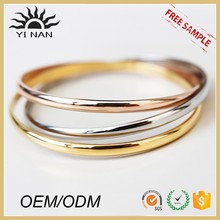 Jewelry Making Supplies Stainless Steel Gold Bangles Trinitarian Cuff Bracelet