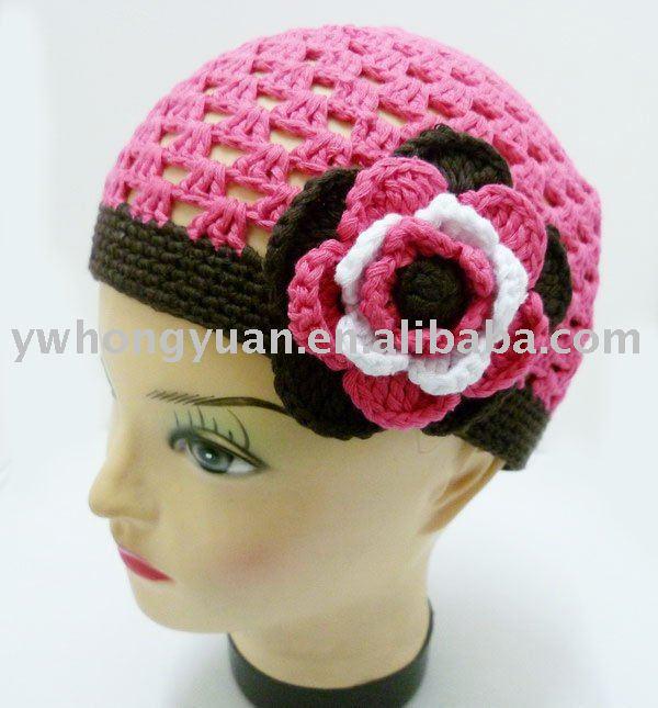 Del bebé del ganchillo del niño de las muchachas de la flor de la gorrita tejida del casquillo del sombrero