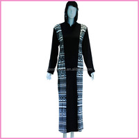 black backer floral printed and patched colorful fabric women abaya with hat