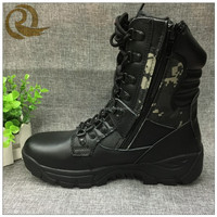 Hot sale Leather military tactical black army ranger boots with zipper