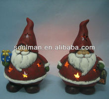 christmas 2015 new hot items gifts ceramic pottery santa candle holder home decoration crafts