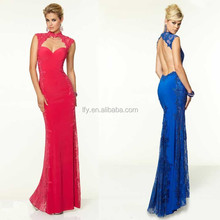 Elegant Custom made High neck Appliqued Lace Sheath Floor Length Party/Evening Dresses Backless Red Long Prom Dresses 2015