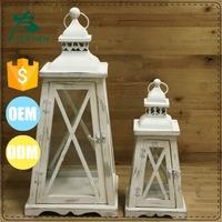 mini white mesh metal church decoration candle holder lantern