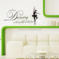 ZOOYOO dancing in the poetry of the foot wall decoration black decorative stickers dancing girl home decor (8193)