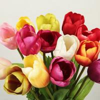 handicraft wedding home decor long single stem artificial tulip