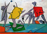 Beach game and rescue by Picasso decoration painting