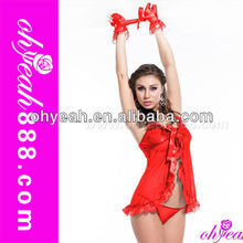 With handcuff red sexy adult girl babydoll open