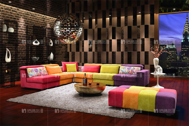 New design fabric color combinations l shaped 7 seater for 7 seater living room