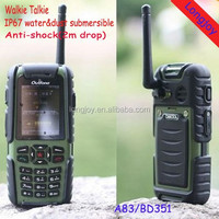 Walkie Talkie GPS Unlocked Rugged Cell Phone 2.0 Inch IP67 Waterproof with GSM Card Phone