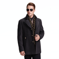 2015 Design New Spring/Winter Trench Coat men Grey Medium Long Oversize Warm Wool Jacket European Fashion Overcoat