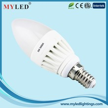High Power 180 Degree Dimmable 5w Candle Led Lighting Bulb with CE RoHS ETL