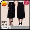 diseñador de moda de las señoras faldas más reciente diseño de falda larga con botones en el frente