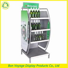 2015 new heavy duty metal floor bottle beer display stand for easy assembly
