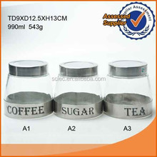 1liter good quality stainless steel coated glass coffee/sugar/tea jar