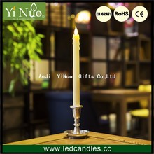 Classic Flameless Ivory Drip Taper LED Candles with Pewter Finish Candlesticks with Holder and Auto Eight Hour Timer