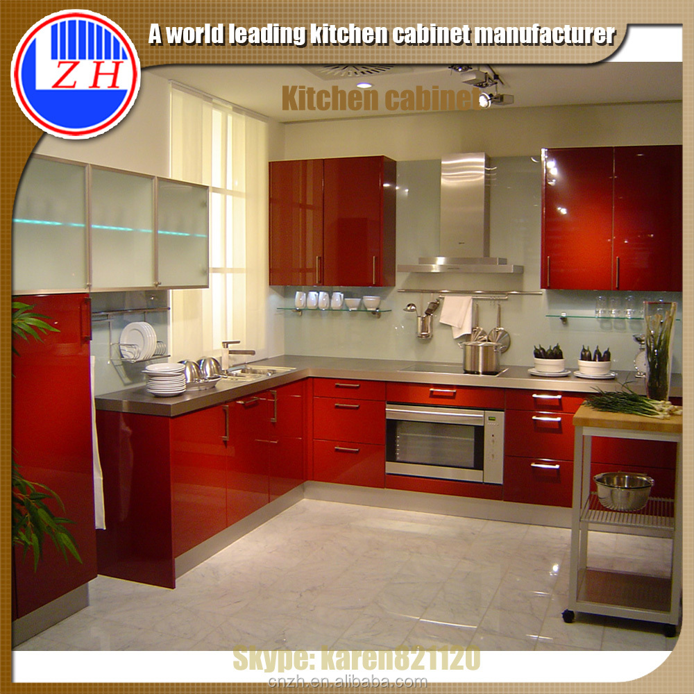 High gloss red kitchen cabinet with acrylic cabinet door for Red high gloss kitchen doors
