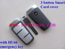 V 3 button smart card cover with HU66 emergency key& auto car key cover blanks