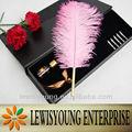 Fancy Ostrich Feather Quill Pen Set para la boda / el regalo / promoción