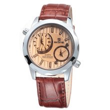 SKONE 9143 Hot Sale two time zone watch leather strap