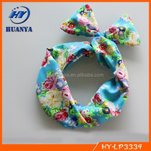 Vintage Floral Big Flower Printed Chiffon Wire Headband Hair Wrap