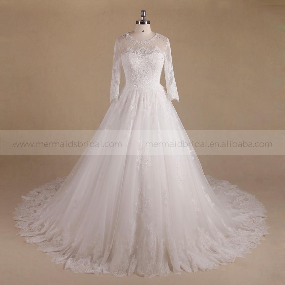 Luxurious long sleeeve beautiful bling beads pattern lace for Wedding dress beading patterns
