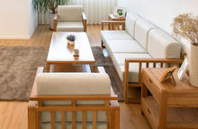 Updated branded solid wood luxury antique white sofa set