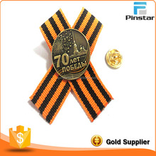 Factory supplier metal antique bronze 70 years celebration lapel pin with ribbon attached