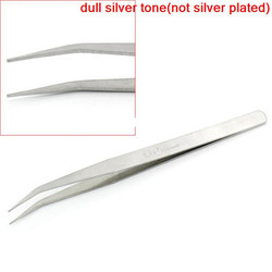 "Silver Tone ""DP""Carved Repair Tools Bent Curved Pointed Tweezers"