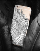 Fashion High Quality 3D Wings Luxury Angle Wings Phone Case plastic Protector Cover Hollow ZX