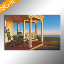 Wood house and green chair Ocean view bungalow seascape art painting