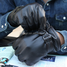 Hot selling wool knit lined leather big hands men's hand gloves