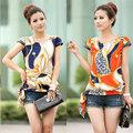 2014 nueva moda elegante retro vintage blusa de gasa mujeres de impresión de verano blusas de manga corta blusa g0418