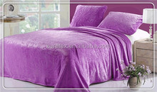 Solid dyed Flannel bed set embossed flannel bed products