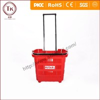 Best selling customize color supermarket plastic shopping basket with wheels