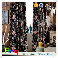New Black backgroud heavy curtain velvet printed fabric for living room/ bed room
