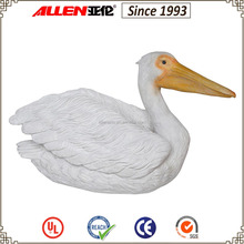 "16.5"" large white water bird sculpture for garden decor, resin white pelican sculpture"