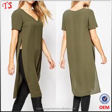Clothing factory custom longline tee summer fashion ladies t shirts