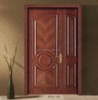 MDF interior wooden painting door with door lock door handle KFW-102