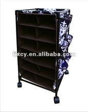Indoor black polyester fabric 12-shelf shoe rolling cart organizer with Wheels