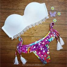 Sexy strapless ruffled fringed triangle swimwear bikini set swimsuit biquini