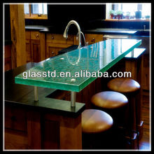 Contemporary crystal raised glass top round bar table